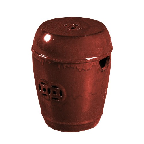 Taburete de cerámica rojo con agujeros