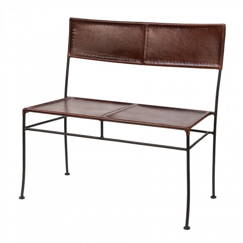 Brown leather and iron bench