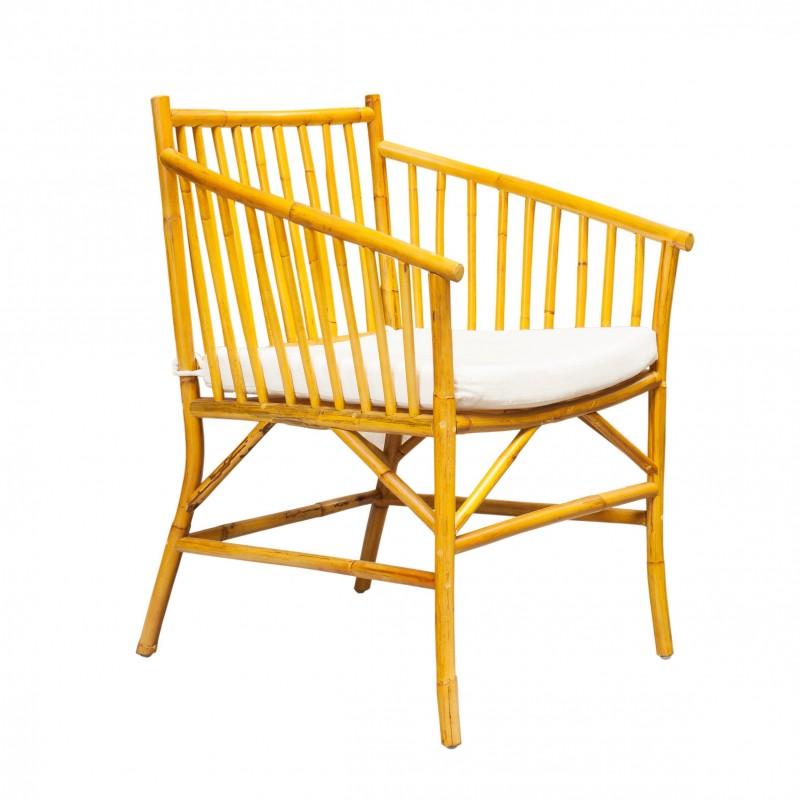 Yellow Malaca armchair with cushion