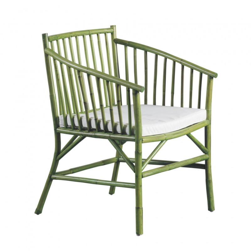 Green Malaca armchair with cushion