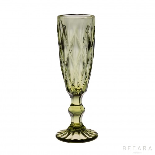 Green Louvre champagne glass