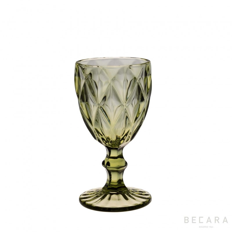 Green Louvre wine glass