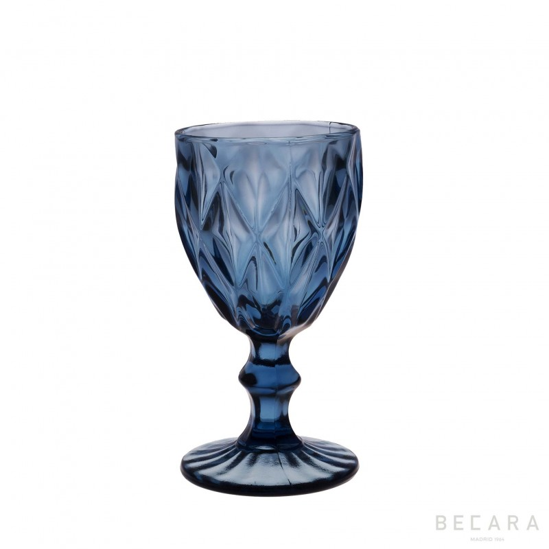 Blue Louvre wine glass