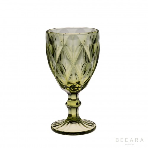 Green Louvre water glass