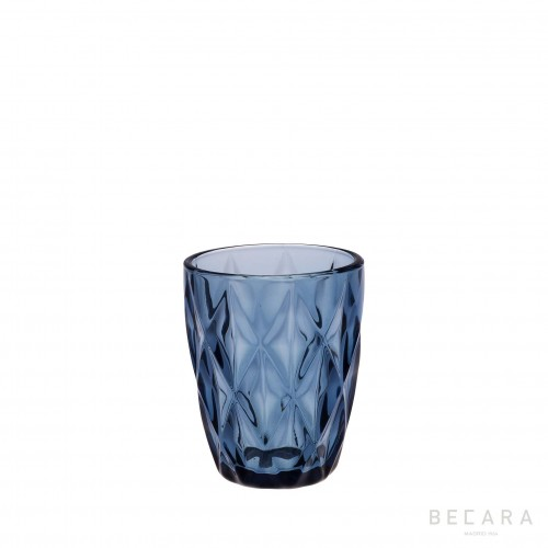 Blue Louvre short glass