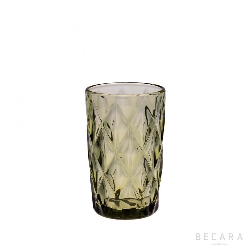 Green Louvre tall glass