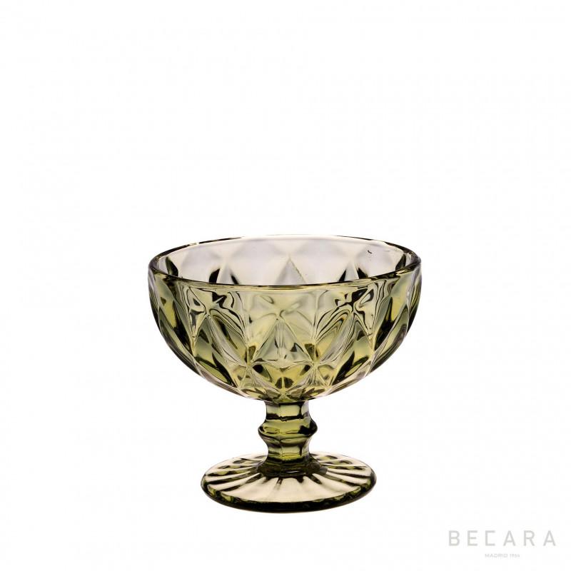 LOUVRE GREEN ICE CREAM GLASS