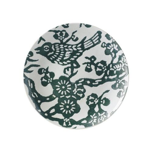 Plato postre de pájaros verdes