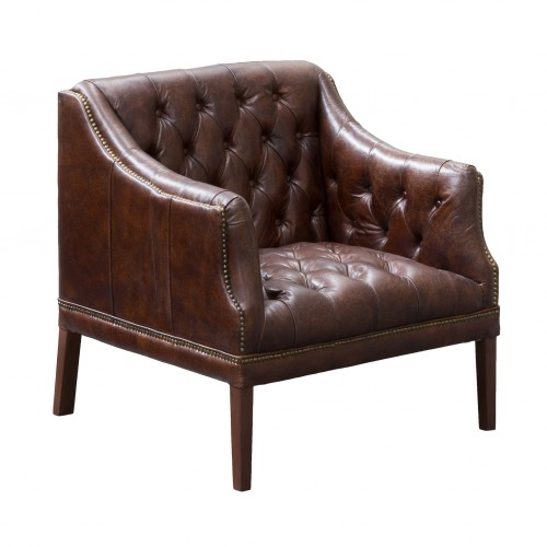 Brown leather Clarence armchair