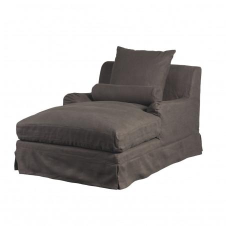 Grey linen Bassano chaise longue