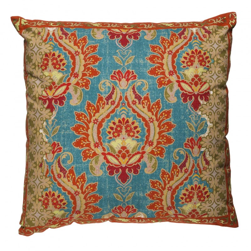 50x50cm turquoise and red cushion