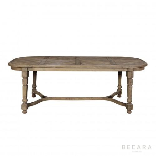 Mesa de comedor ovalada con tapa parquet