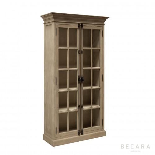 Armario de madera con puertas de cristal - BECARA