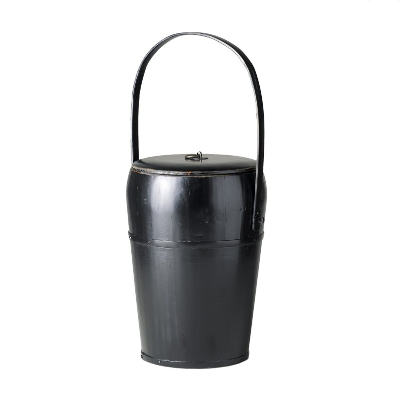 Black container with tassel