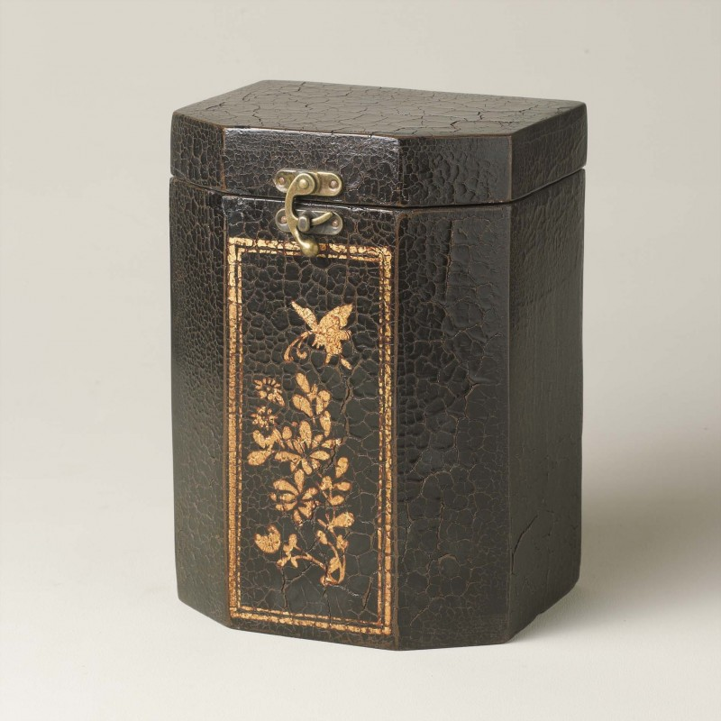 Black cracked box with golden painting