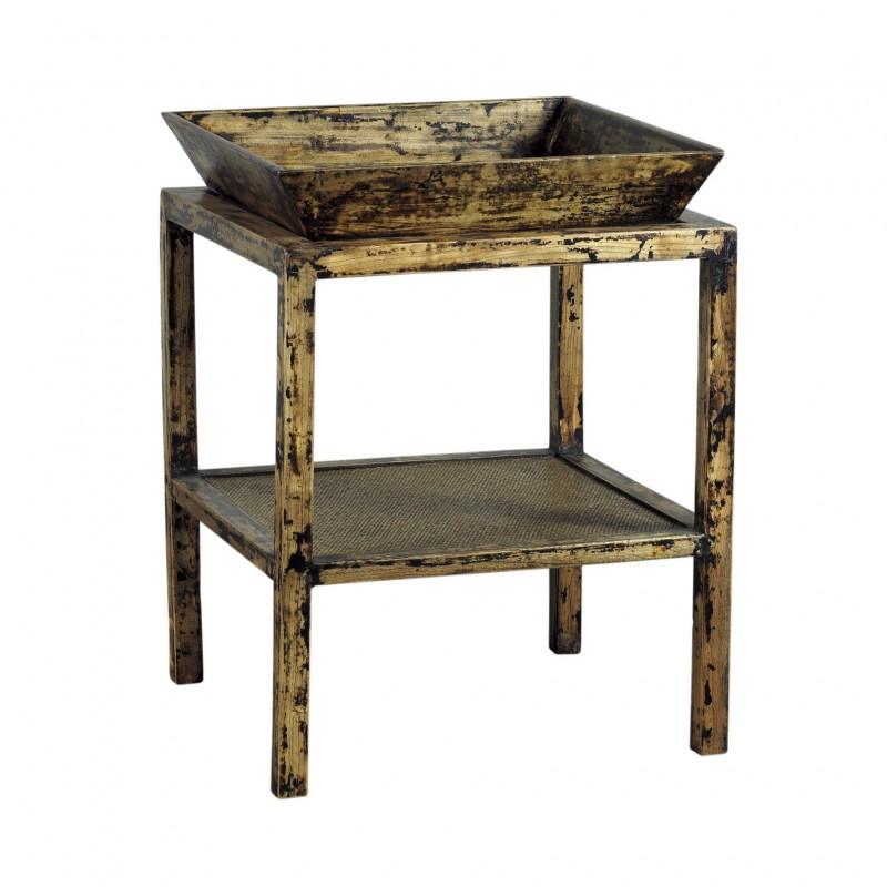 Decapé finish side table with tray