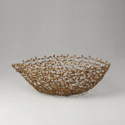 Bowl de alambre dorado de flores - BECARA