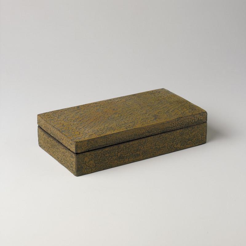 MEDIUM CRACKED WOODEN BOX COGNAC 33x18