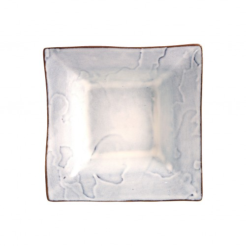 Square soup plate with blue patches