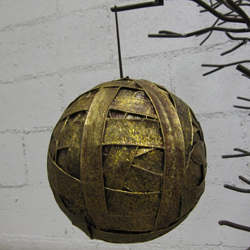 Ø16cm golden strips Xmas ball