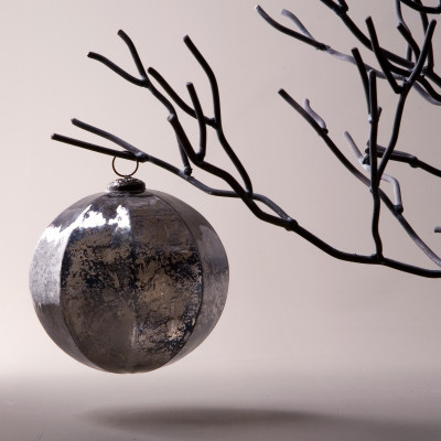 Bola de Navidad octogonal plateada Ø15cm