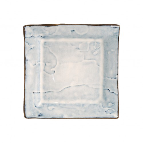 Square dessert plate with blue patches