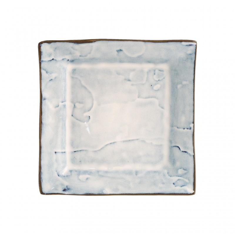 Plato postre cuadrado manchas azules - BECARA