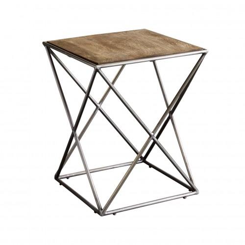Mesa auxiliar con patas aspas y tapa de madera