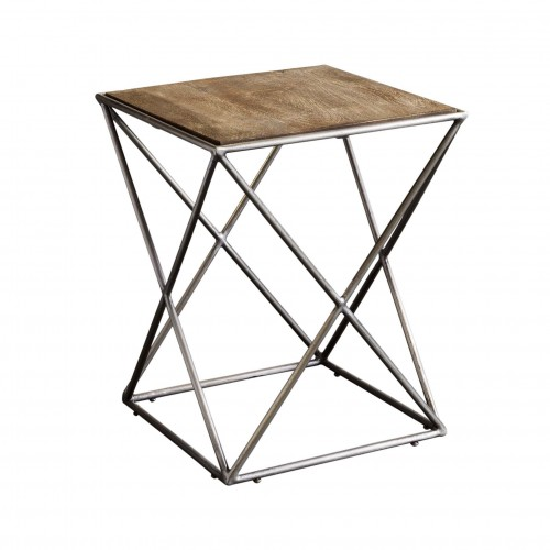 Side table with crossed legs and wooden top