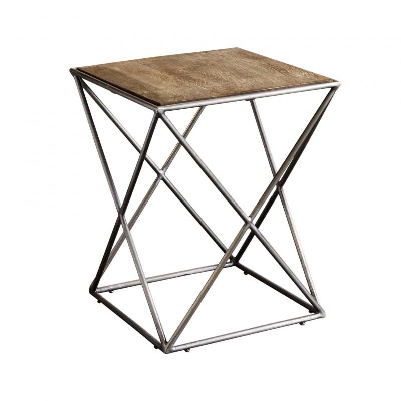 Mesa auxiliar con patas aspas y tapa de madera - BECARA