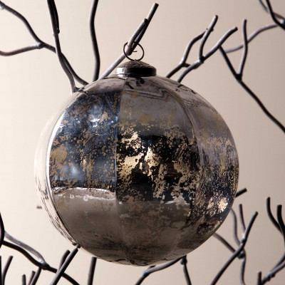 Bola de Navidad octogonal plateada Ø20cm