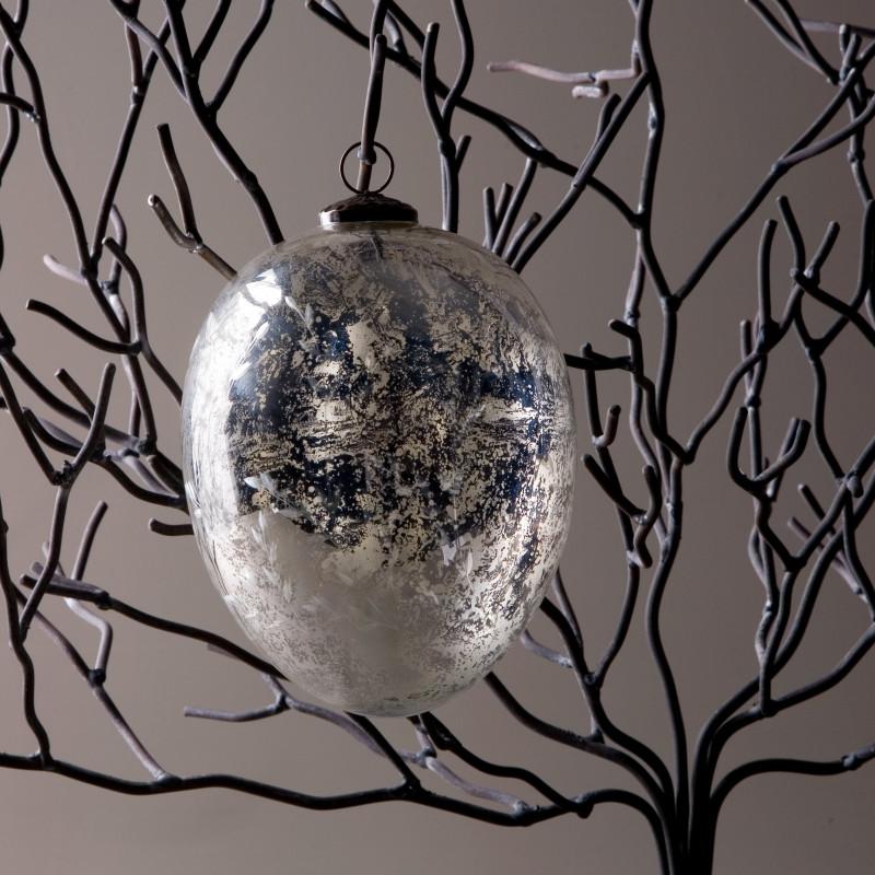 EXTRA BIG SILVER GLASS CHRISTMAS BALL
