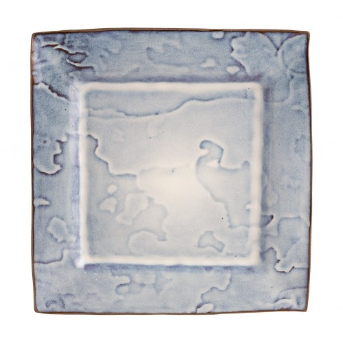 Square shallow plate with blue patches