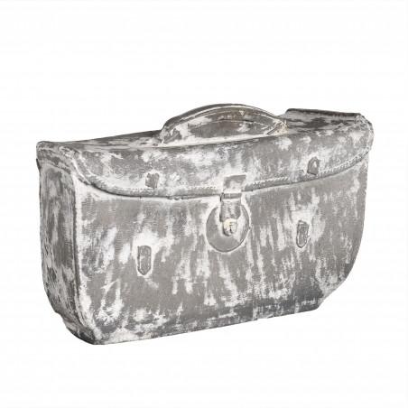 Figura de maletín gris y blanco