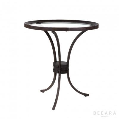 Velador redonda de hierro y tapa de cristal