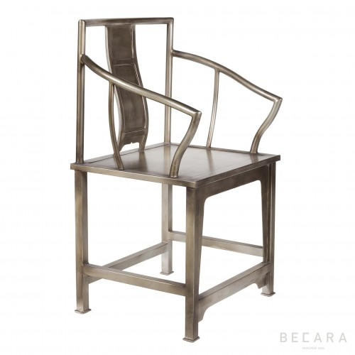 Silver colored armchair