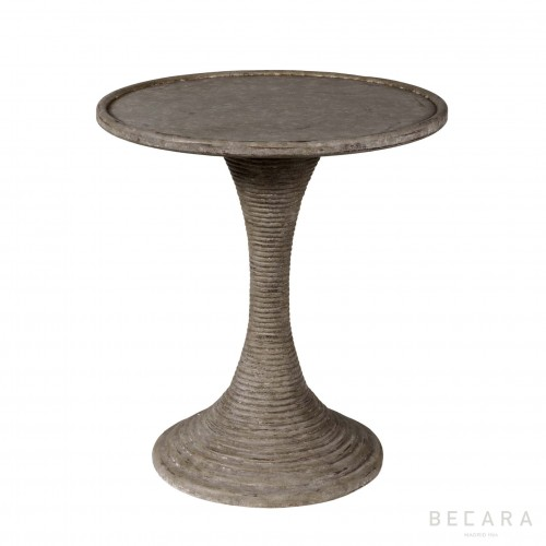 Round grey side table with grooved leg