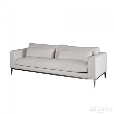 Natural linen and nickel Stark sofa