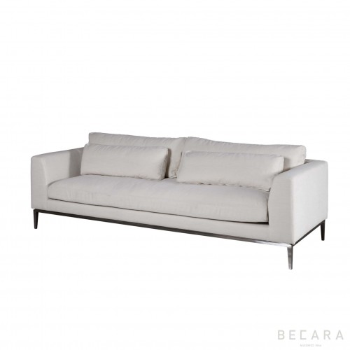 Natural linen and nickel Stark sofa