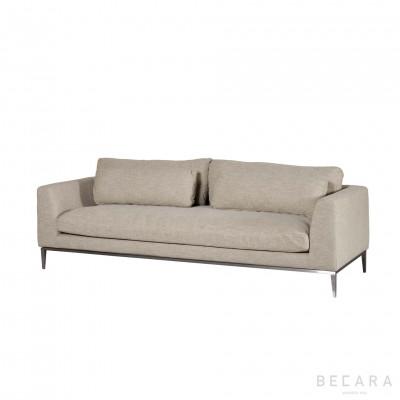 Beige linen and nickel Stark sofa