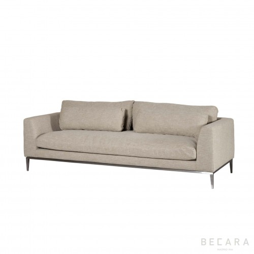 Beige linen and nickel Stark sofa