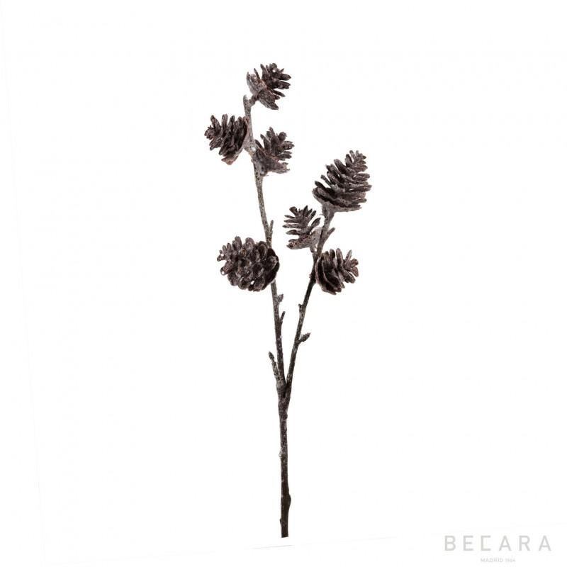 Rama de piñas con purpurina 40cm - BECARA