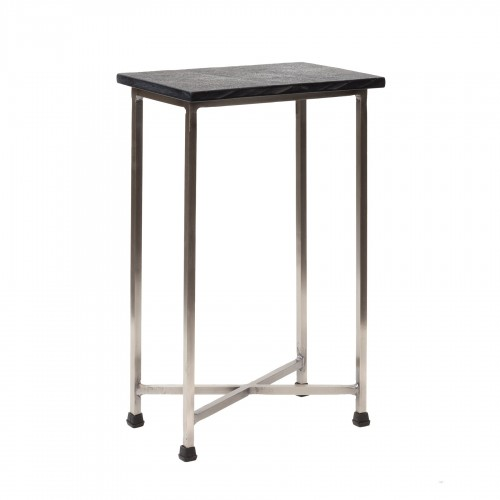 Side table with stone on the top and nickel legs