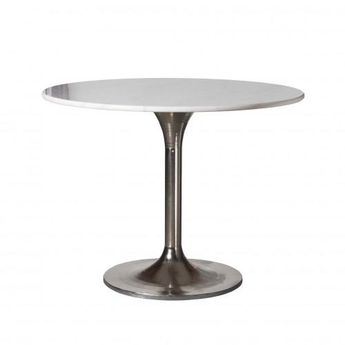 Mesa de comedor redonda de níquel con tapa de mármol