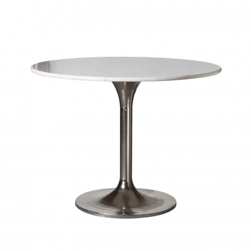 Round nickel dinning table with marble on top