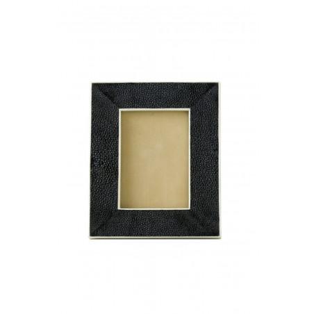 Black shagreen frame with white inner