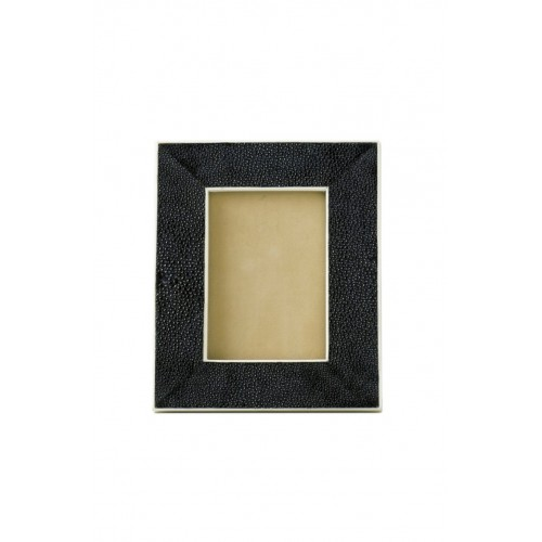 Black shagreen frame with white inner