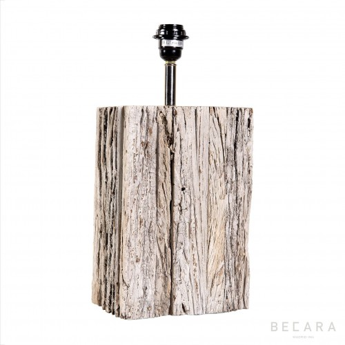 Big rectangular wooden block table lamp