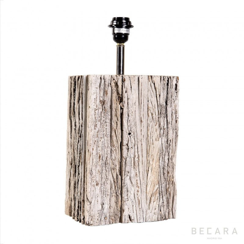 Big wooden block table lamp