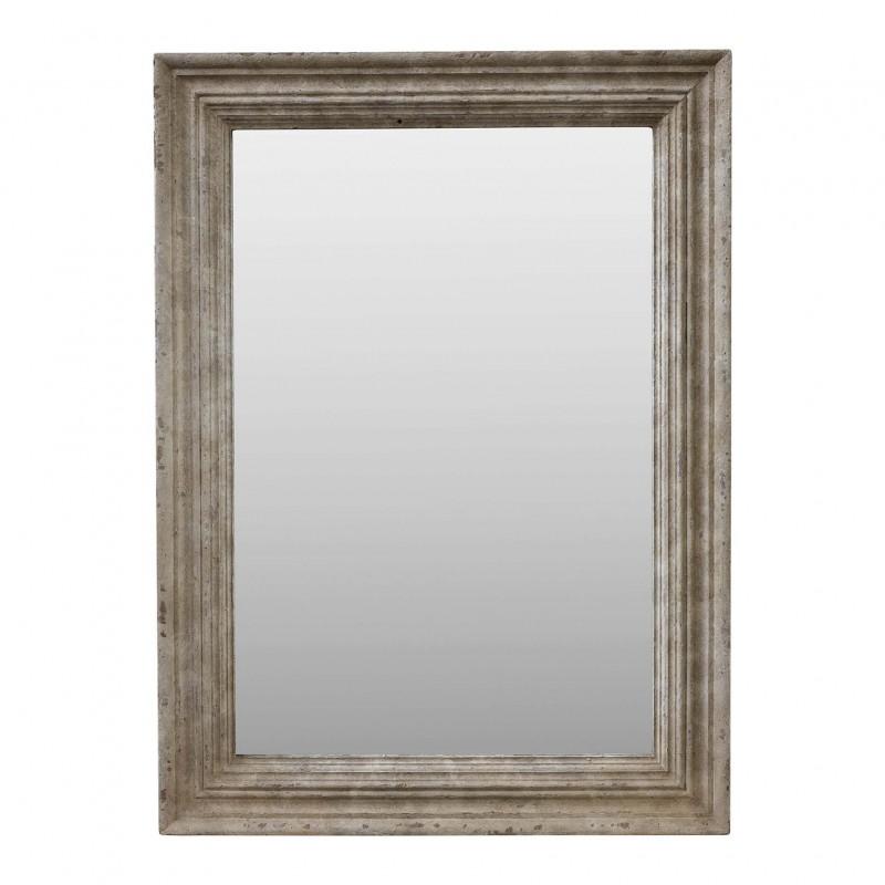 95x130cm cream-colored wooden mirror